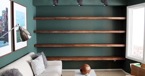 Chris Loves Julia: DIY Solid Wood Wall-to-Wall Shelves