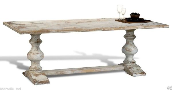 Dining Table White Washed Distress Old World Finish