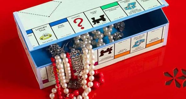 DIY: Make treasure boxes out of old game boards (thrift stores often