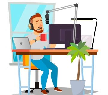 Radio Dj Man Vector Broadcasting Estacion De Radio Moderna Hombre Hablar En El Microfono Aislado Ilustracion De Dibujos Animados Plana Ilustracion De Dibujos Animados Estaciones De Radio Ilustraciones De Dibujos Animados