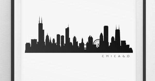 Chicago Skyline Silhouette Printable Skyline Pdf Png Etsy Chicago Skyline Silhouette Skyline Silhouette Chicago Skyline