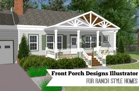 Great front porch designs illustrator on a basic ranch for New ranch style homes in maryland