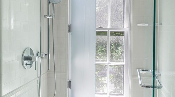 What a cool idea have your window in the shower and protect it with a glass shutter inside - Shower glass protection ...