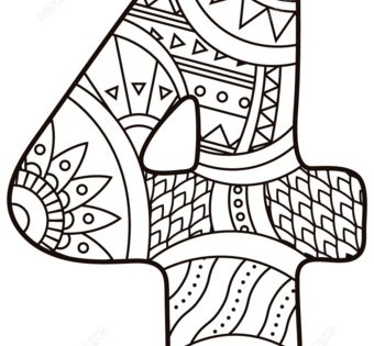 Number 4 Zentangle coloring page