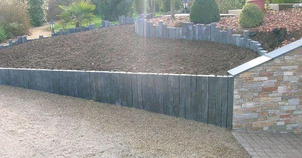 Retenue De Terre En Ardoise Amenagement Jardin Jardin En