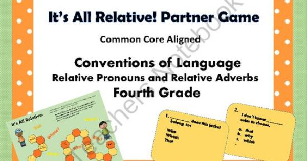 relative pronouns and relative adverbs partner game common. Black Bedroom Furniture Sets. Home Design Ideas