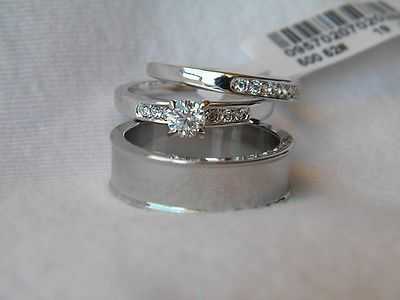 3 Piece His And Hers Wedding Ring Set Couples Wedding Rings Free Box Fast Couple Wedding Rings Wedding Ring Sets Cool Wedding Rings