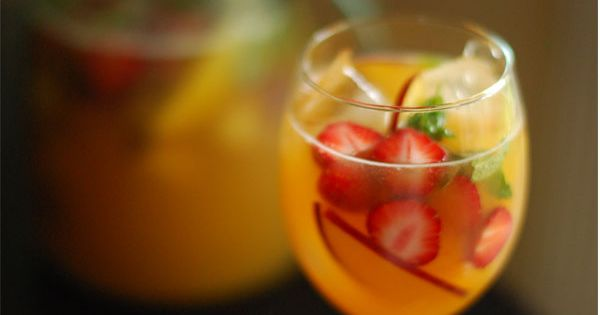 Peach sangria with lemon & basil | Drink | Pinterest | Paella ...