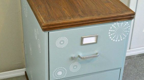 Wood trimmed filing cabinet makeover metal filing Upcycled metal filing cabinet