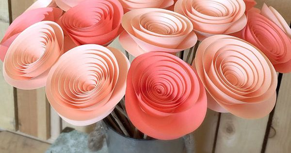 Paper Flowers Peach And Coral Wedding Centerpieces