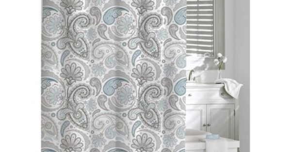 Kassatex Paisley Shower Curtain Blue Gray