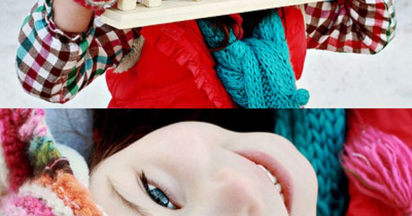 Kids winter photo shoot outfits - lots of color