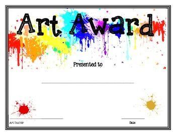 Art Award Art Certificate Art Handouts Art Education Projects