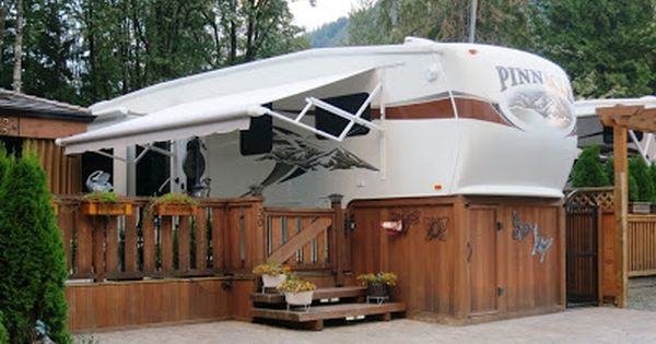 Deck Ideas Stained Wrapped Deck Going Under 5th Wheel Trailer Deck Rv Living Full Time Deck Ideas For Campers