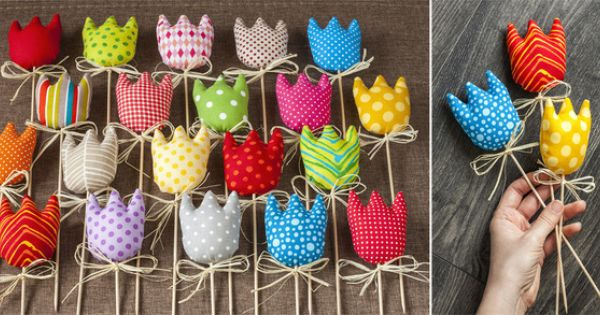 Tulipany Na Patyku 3 Z 20 Tulipanow Pracownia Mi Dekoracje Wielkanocne Felt Easter Crafts Fabric Flowers Crafts