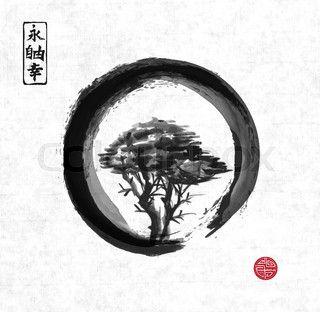 Tree In Black Enso Zen Circle Zen Tattoo Circle Tattoos