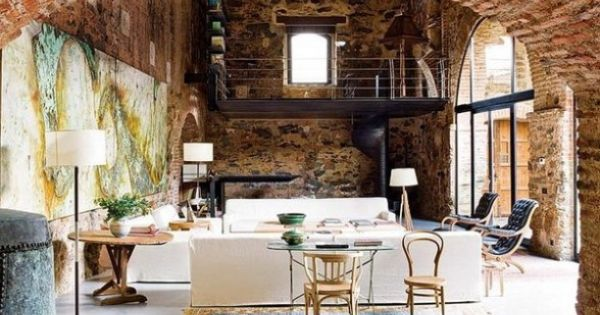 interior design a contemporary living room with old brick wall