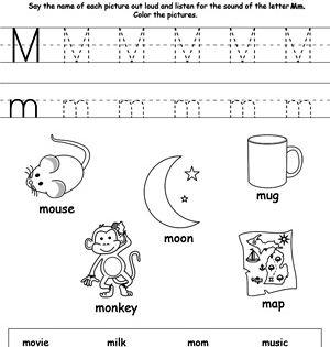 words starting with letter m worksheets activities and kindergarten. Black Bedroom Furniture Sets. Home Design Ideas