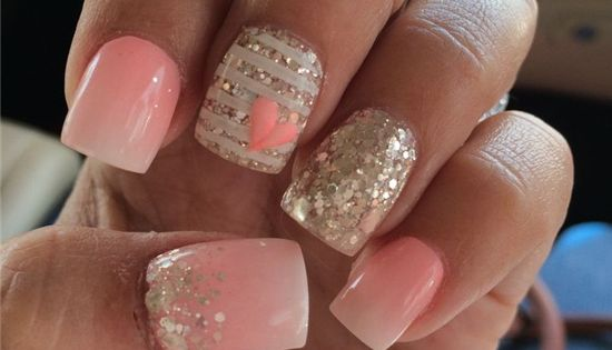 Nice light ombre paired with sparkle and a little nail art