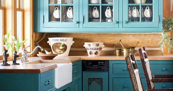 Dark teal cabinets rustic look kitchen kitchen and for Teal kitchen cabinets