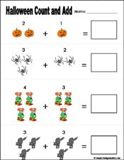 Preschool And Kindergarten Halloween Math Worksheets Halloween Kindergarten Halloween Math Halloween Math Worksheets