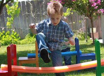 Pool Noodle Backyard Obstacle Course- the kids loved this!