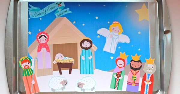 free paper doll printables, nativity, santa, christmas tree with ornaments and more.