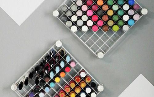DIY Hanging Paint Storage. Love this! Made from those cheap wire storage