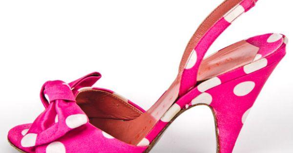 Vintage pink polka dot heels