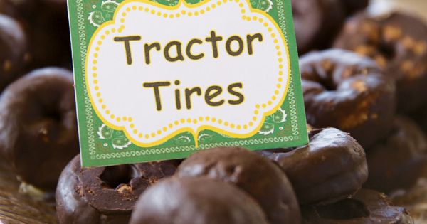"Tractor Party Ideas: Cute ideas - ""tractor tires"" and ""hay bales"""