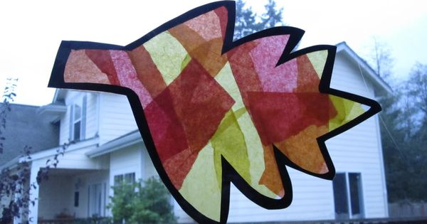Fall leaf crafts leaf window catcher tissue paper for Fall decorating ideas with construction paper