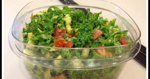 My favorite salad- Kale, arugula, tomato, cucumber, avocado, olive oil ...