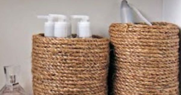 Coffee cans wrapped in rope || home decor bathroom DIY craft rope