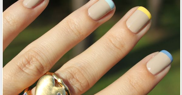 Pastel color French manicure. Nude nails