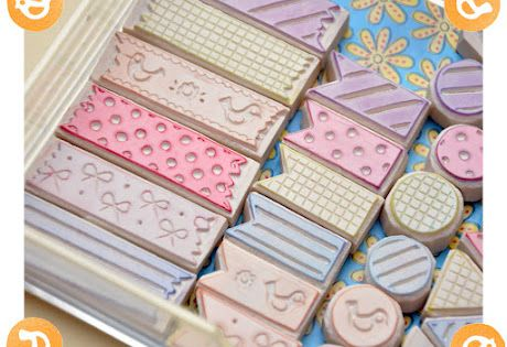 "Set de tampons ""masking tape""! stamps that look like washi tape via"