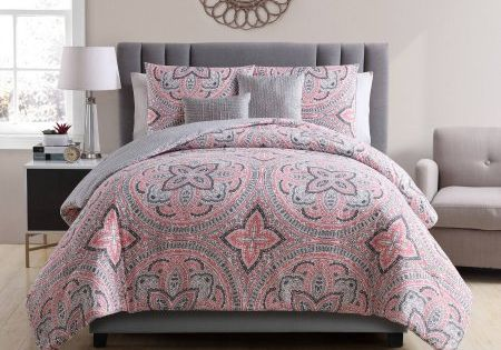Vcny Home Multi Color Medallion Printed 5 Piece Reversible Allison