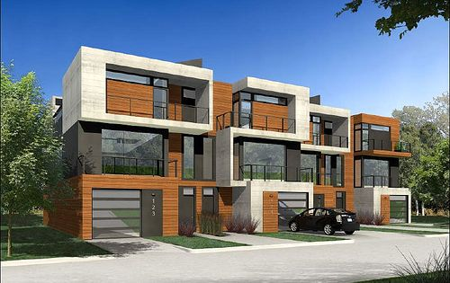 Another row house idea a single unit here with garage for Modern fourplex designs
