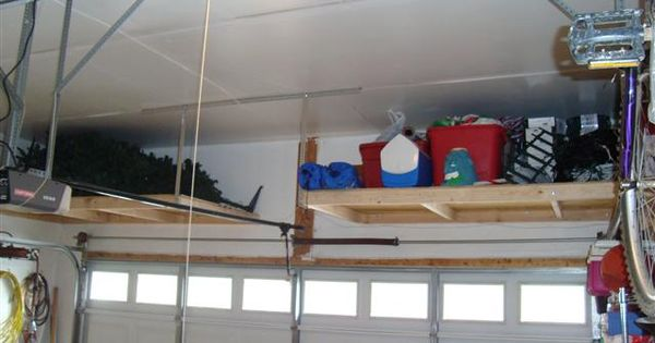 Inspiring garage overhead storage diy workshop for Diy garage storage loft