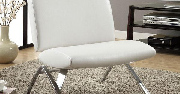 Have to have it. Monarch Faux Leather and Chrome Modern Accent Chair - White $249.99 | Employee ...