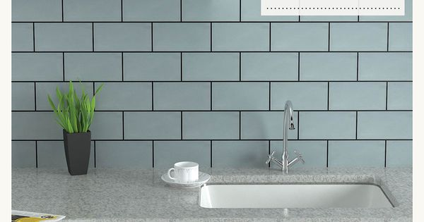 Brick Tiles In Duck Egg Blue With Dark Grouting Tile