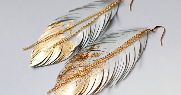 Leather Feather Earrings Dipped in Gold by Sabrina Travel Accessory travel things