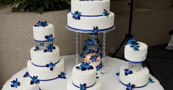 Royal Blue Wedding Cake Decorated With White Chocolate Butter Cream, Satin Ice Fondant, Cornelli