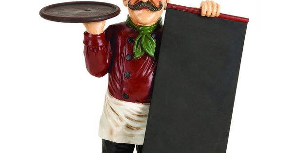 French Chef Waiter Statue With Menu Chalkboard Message Board Tray