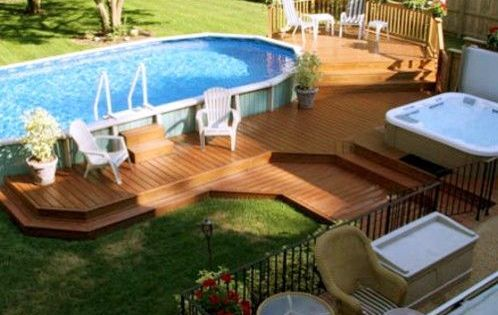 12 Above Ground Swimming Pool Designs Above Ground Pool Landscaping Backyard Pool Pool Landscaping