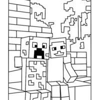 Desenho De Creeper Sendo Consolado Para Colorir Desenhos Minecraft