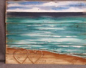 Wood Pallet Beach Wall Art Beach Hand Painted Seascape Horizon