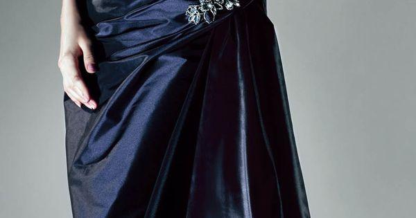 Off shoulder floor-length taffeta dress in Midnight Blue