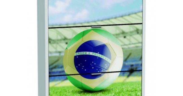 Armario zapatero de tres trampones blanco brasil en for Armario zapatero pvc