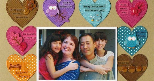 Thankful multi colored hearts Scrapbook page