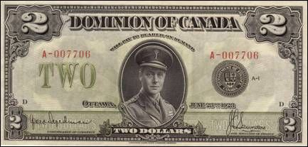 The Online Canadian Paper Money Museum 2 Dollar Bill
